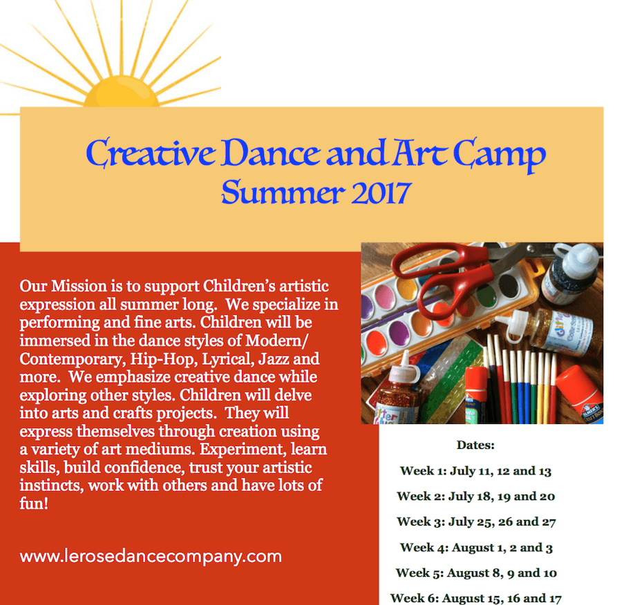 SUMMER DANCE AND ART CAMP BUTTON