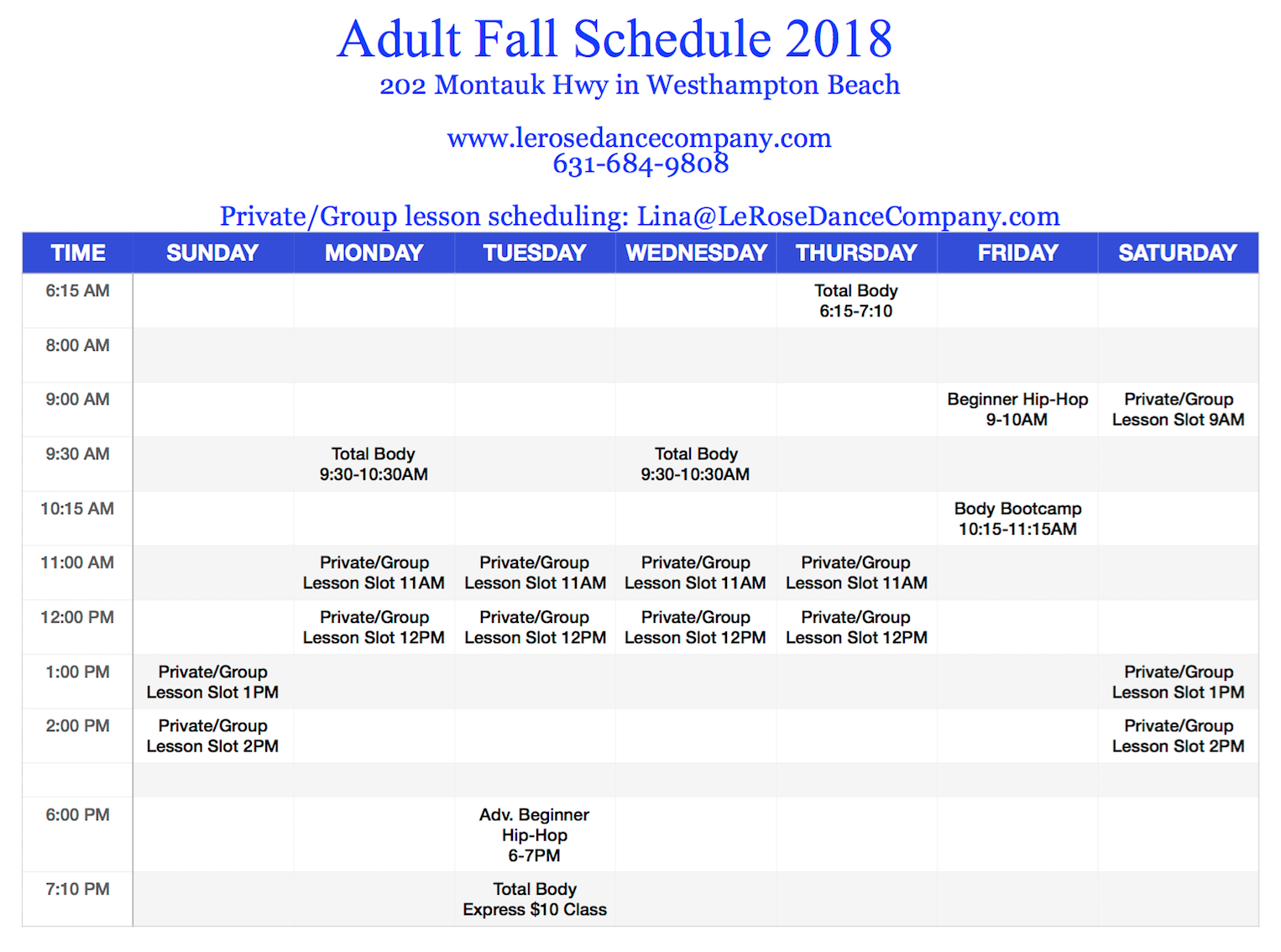 Adult Fall & Winter Schedule 2018-19